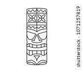 tiki tribal totem head.... | Shutterstock .eps vector #1071257819