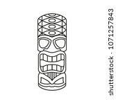 tiki tribal totem head.... | Shutterstock .eps vector #1071257843