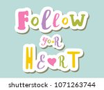 lettering on background  follow ... | Shutterstock .eps vector #1071263744