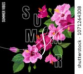 hello summer poster. floral... | Shutterstock .eps vector #1071264308