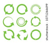 green round recycle icons set... | Shutterstock . vector #1071266699