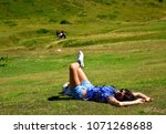 enjoying sunny summer day in... | Shutterstock . vector #1071268688