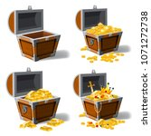set old pirate chests full of... | Shutterstock .eps vector #1071272738
