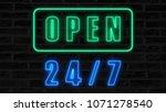 open 24 7 neon sign  retro...   Shutterstock . vector #1071278540