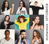 Small photo of Different emotions collage. Set of male and female emotional portraits. Positive and negative feelings mosaic. Young diverse people grimacing on camera at colorful studio backgrounds