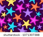starfishes seamless pattern.... | Shutterstock .eps vector #1071307388
