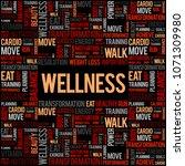 wellness word cloud  fitness ... | Shutterstock . vector #1071309980