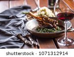 roasted or confit lamb leg in... | Shutterstock . vector #1071312914