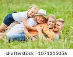 happy family and children... | Shutterstock . vector #1071315056