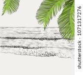 vector summer seascape sketch....   Shutterstock .eps vector #1071317276