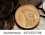 close up of us one dollar coin | Shutterstock . vector #1071321758