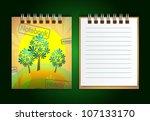 notebook on a green background | Shutterstock .eps vector #107133170