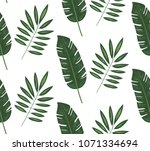 seamless pattern of tropical... | Shutterstock .eps vector #1071334694