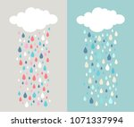 cloud and colourful raindrops....   Shutterstock .eps vector #1071337994