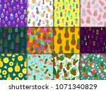 pineapple seamless pattern... | Shutterstock .eps vector #1071340829