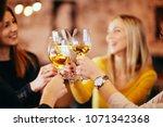 girlfriends drinking wine and... | Shutterstock . vector #1071342368