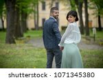 beautiful young couple in love...   Shutterstock . vector #1071345380
