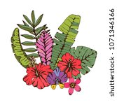 bouquet. palm leaves  tropical... | Shutterstock .eps vector #1071346166