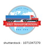 flat truck icon. delivery and... | Shutterstock . vector #1071347270
