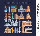 popular buildings pixel art set ...   Shutterstock .eps vector #1071348884