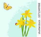 spring flowers  butterfly and... | Shutterstock .eps vector #1071349988
