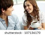 happy couple looking at each... | Shutterstock . vector #107136170