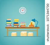 book lamp cat flat illustration ... | Shutterstock .eps vector #1071364730