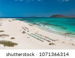aerial view of corralejo beach... | Shutterstock . vector #1071366314