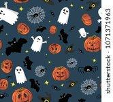 Halloween Pattern Onblue...