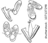 set of four pairs of sneakers... | Shutterstock .eps vector #107137298