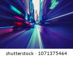 abstract motion speed in city  | Shutterstock . vector #1071375464