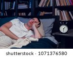 image of man with insomnia...   Shutterstock . vector #1071376580