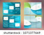 tri fold set brochure design... | Shutterstock .eps vector #1071377669