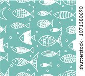 pattern of fish in the style of ... | Shutterstock .eps vector #1071380690