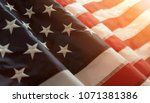 Close up of american flag with...
