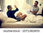 gay couple is spending time... | Shutterstock . vector #1071382853