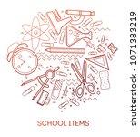 school items. modern flat...   Shutterstock .eps vector #1071383219