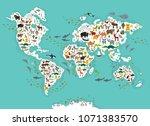 cartoon animal world map for... | Shutterstock .eps vector #1071383570