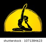 yoga pose designed on moonlight ... | Shutterstock .eps vector #1071384623
