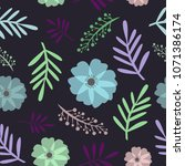 seamless floral pattern spring... | Shutterstock .eps vector #1071386174