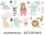 cute animals charachters... | Shutterstock .eps vector #1071391643