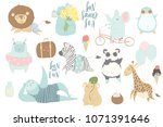 cute animals charachters... | Shutterstock .eps vector #1071391646