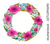a watercolor wreath made of... | Shutterstock . vector #1071395690