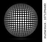 white 3d vector halftone sphere.... | Shutterstock .eps vector #1071396680