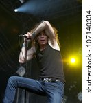 Small photo of HELSINKI, FINLAND - JULY 1: American thrash metal band Overkill performs live on stage July 1, 2012 at 15th annual Tuska Open Air Metal Festival in Suvilahti, in Helsinki, Finland.