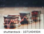 graph of stock market coins ... | Shutterstock . vector #1071404504