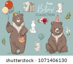 Stock vector cute birthday hares and bear collection 1071406130