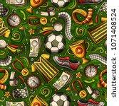 cartoon hand drawn soccer... | Shutterstock .eps vector #1071408524