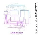 living room. modern flat vector ... | Shutterstock .eps vector #1071417278