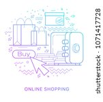 internet shopping. modern flat... | Shutterstock .eps vector #1071417728